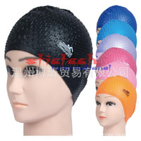 Wholesale particle design - by dhl or ems 100pcs Summer Waterproof Particles Design Swimming Cap Excellent Elastic Silicone Ear Protection