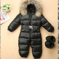 Wholesale hooded infant wears resale online - 2018 High Quality Children s Winter Jumpsuit Infant Snowsuit Baby Thick Down Fur Coat Newborn Snow Wear Rompers for Boy Girl Parka Costumes