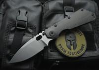 cuchillos strider d2 al por mayor-High-End Strider Tactical Cuchillo plegable D2 Satin Blade Carbon Fiber + TC4 Titanium Cuchillo-aleación de supervivencia Cuchillos plegables EDC Gear