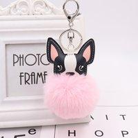 nette schlüsselringentwürfe großhandel-Neue Art und Weise Qualitäts-nette nachgemachte Kaninchen-Haar-Auto-Schlüsselketten-Ring-beste Entwurfs-Geschenk-Hund geformte Schlüsselkette für Verkauf
