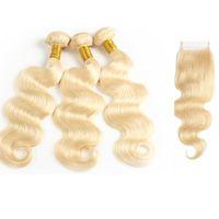 fermeture de cheveux vierge européenne achat en gros de-Virgin Blonde Body Wave Bundles Avec Dentelle Fermeture Brésilienne Cheveux Humains Tisse Droite Européenne Vison Virgin Hair Extensions