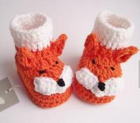 tığ kıyafetleri bebekler toptan satış-SıCAK SATıŞ Tığ Bebek Patik ayakkabı, Tığ Bebek Fox Patik Çizmeler, bebek duş hediye hediye damla nakliye 5 çift / 10 adet