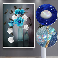Wholesale large paintings for sale - Diamond painting cross stitch complete round rhinestones for flower bottle picture mosaic needlework large wall paintings WSA008
