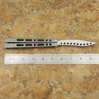 couteaux d'entraînement en titane achat en gros de-Couteau d'entraînement Butterfly EX-10 Trainer non tranchant Manche en titane Système de bague