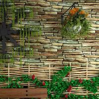обои из камня оптовых-Старинные деревенский 3D эффект камень кирпич обои рулон для стен гостиной Обои для спальни ТВ фон Papel De Parede 3D
