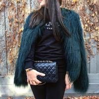 flauschiger pelzmantel großhandel-Furry Fur Coat Frauen Flauschige warme lange Hülsen-weibliche Oberbekleidung-Herbst-Winter-Mantel-Jacken-behaarten kragenlosen Mantel 6Q0205