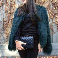 mujer peluda al por mayor-Furry Fur Coat Mujeres Fluffy Warm manga larga prendas de vestir exteriores otoño abrigo de invierno Chaqueta Hairy sin cuello abrigo 6Q0205