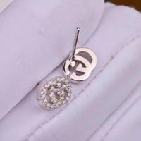 zinnlegierung nickel großhandel-Neue Ankunfts-beste Freund-hohle Wörter für Ohrringe große Diamant-Ohrringe für Frauen weißes Zirconohrringe Geschenk PS5771