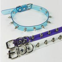 rosa spike halsbänder großhandel-ganze saleWholesale Handmade Punk Gothic Blau Lila Rosa Vinyl Transparent Spikes Choker Klar PVC Kragen Halskette