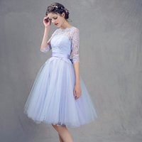 ingrosso vestiti di promenade blu di 8 gradi-Una linea Scoop Mezza manica Corto Party Dress 8th Grade Prom Dresses vestido de festa curto Blue Lace Abiti Homecoming 2018