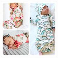 Wholesale newborn clothing bags resale online - 2018 Newborn baby blanket Sleeping bag Dinosaur Floral Print Designs Ins Maternity Newborn Wrap bag Lovely style free style months