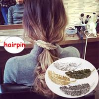 clipes de cabelo de penas meninas venda por atacado-Menina Retro grampos de cabelo Menina Mulheres boutique estilo pena Acessórios Para o Cabelo Crianças boutique hairpins 4 cores para escolher