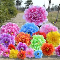 Wholesale large party props resale online - Multi Size Color Large Theatrical Show Useful Tools Creative Chinese Style Peony Flower Umbrella Performance Props Hot Sale rc4 KK