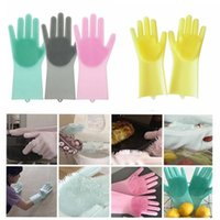 Wholesale men beds online - Magic Silicone Dish Washing Gloves Eco Friendly Scrubber Cleaning For Multipurpose Kitchen Bed Bathroom Hair Care MMA834 pair