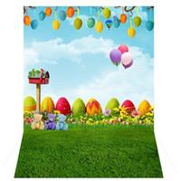 ingrosso fotografia per bambini pasqua pasqua-3x5Ft Cute Fresh Grass vinile Photo background Studio Puntelli Fondali Easter Egg Air Balloon Cartoon Baby Kids photography