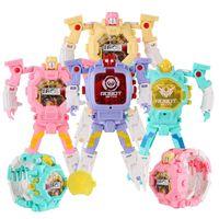 Wholesale Cute Robot Cartoon - Deformation Non-Toxic Children Wristwatch Toy Children Sports Cartoon Watches Kids Xmas Gifts Cute Robot Transformation Toys