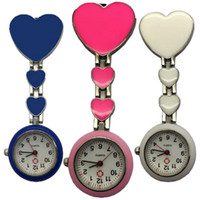 Wholesale unisex heart shaped glasses for sale - Group buy Fashion models women ladies unisex nurse FOB pocket watch with love heart shape doctor medical hang watch