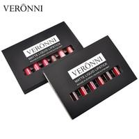 комплекты блеска для макияжа оптовых-VERONNI Brand 6pcs/set Waterproof Matte Lip Gloss Glitter Liquid Lipstick Beauty Fashion Lip Batom Kits Glazed Hudas  Tool