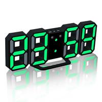 12 часов смотреть оптовых-Современные цифровые настенные часы светодиодные настольные часы красочные часы 24 или 12-часовой дисплей будильник повтор будильник Home Room Decor