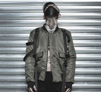 punk bombardıman ceketi toptan satış-Avrupa ve Amerika erkek Ceket yüksek sokak karanlık sapanlar bombacı ceket kaya punk casual ceket gelgit erkek
