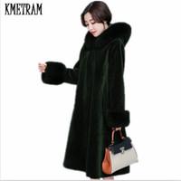 Wholesale Lined Coats Women - KMETRAM 2017 Winter Women Big fur Hooded Fur Coat Fashion Warm Long-sleeved Faux Coat Female Flocking Plus Size HH453