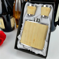 Wholesale true pack resale online - 6oz true bamboo hip flask with cups in gift box packing for gift