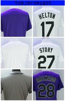 Wholesale Boy Stories - Stitched 28 Nolan Arenado 19 Charlie Blackmon Jersey Mens 27 Trevor Story Baseball Jerseys White Stripe Purple Grey customized personalized