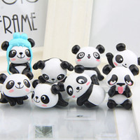 ingrosso vasi da giardino giganti-8 Pz / set Zakka Cute Giant Panda PVC Figure Modello Giocattoli DIY Mini Cartoon Garden Miniature Pot Culture DDA773