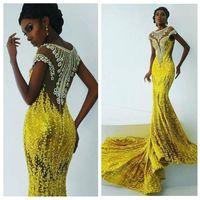 parlak sarı akşam elbiseleri toptan satış-2018 Ince Bling Parlak Sarı Sequins Mermaid Gelinlik Modelleri Afrika Kadınlar Aplikler Boncuklu Abiye giyim Sweep Tren Siyah Kız Parti giymek