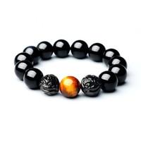 jade tiger auge großhandel-Natürliche Obsidian Armband Tiger Eye Stein Brave Armband buddhistischen Perlen Kristall Männer und Frauen Jade Schmuck
