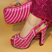 Wholesale ladies rubber bags online - New red Italian Shoes with Matching Bags High Quality Shoes and Bag Set African Sets Ladies Shoes with Matching Bags Set