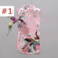 Wholesale newest clothing styles for sale - Chinese Style Girls Peacock Dress Newest Flower Birds Cotton Children s Clothing Kid s Qipao Dress Vintage Baby Clothing Fashion Flower B11