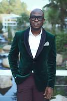 Wholesale royal blue velvet suit for men for sale - Group buy Handsome Hunter Green Wedding Tuxedos Slim Fit Velvet Custom Suits For Men Cheap One Button Groom Suit Only The Jacket