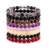 Wholesale Tiger Eyes Bracelet - JLN Stone Power Beads Bracelet Quartz Amethyst Tiger Eye Agate Jasper Stone Stretched Rope Bracelets For Men Women Jewelry