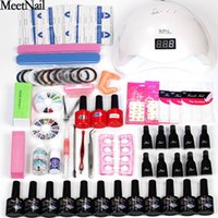 Wholesale tools for painting online - Nail Polish Gel Paint Kit Color Nail GEL Lacquer Base and Top with w w Led Lamp Dryer Manicure Tools for Nail Set
