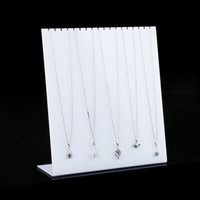 Wholesale l shape acrylic stand for sale - Group buy White Acrylic Necklace Display Stand L Shape Prop Chain Hanger Fair Market Booth Jewellery Necklaces Organizer Holder
