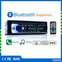 mp3 плэйс 12v оптовых-YENTL Bluetooth аудио стерео 60WX4 12 в-тире 1 Din FM Aux вход Mp3-плеер радио USB/TF/AUX/FM автомобиль MP3-плеер пульт дистанционного декодирования Совет