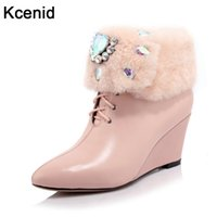 Wholesale black diamond ankle boots - Kcenid Real fur winter boots fashion rhinestone diamond snow boots sexy pointed toe wedge heel shoes woman genuine leather