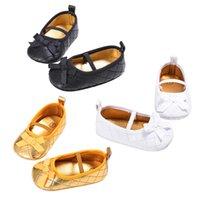 bebé caminando corbata zapatos al por mayor-Baby Girl Shoes Pajarita Infantil Baby First Walking Zapato Cotton Soft antideslizante Prewalkers Zapatos 0 a 18 meses 2017 Moda