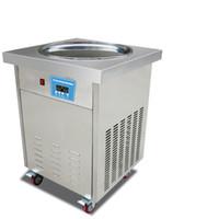 rollen großhandel-USA WH Lieferung smart thailändische kommerzielle gebratene Eiscreme-Maschine 20 Zoll Pfanne gebratene Eiscreme-Rollenmaschine mit REFRIGERANT 110V / 220V