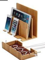 wiege für ipad großhandel-Multifunktions Natürliche Bambus Holz Ladestation Ladestation Cradle Ständer Halter aufbewahrungsbox Für iPhone 5 6 S 7 Plus iPad MAC