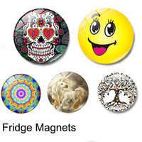 стеклянные магниты на холодильник оптовых-11 серия стекло кабошон Магнит на холодильник сахар череп Emoji йога Мандала Дерево Жизни Рождественская звезда карта холодильник Магнит наклейка домашний декор