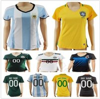 Wholesale Mexico Football Jersey - Women Soccer Jersey Colombia Yellow Brazil Mexico Green White Argentina Japan Home Away Ladies Girls Custom Football Jerseys Shirt