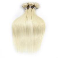 Wholesale 1kg hair extensions - 1kg Wholesale 10 bundles 613 Blonde Extensions Virgin Hair Straight Two Tone Ombre Brazilian Indian Peruvian Remy Human Hair Weave Bundle