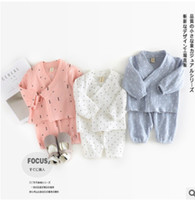 Wholesale Linen Pants Tops - Infant cotton linen outfits baby girls lace-up Bows V-neck long sleeve tops+elastic pants 2pcs sets toddler kids triangle print suits R2100