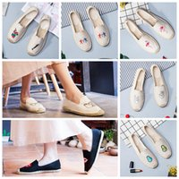 вышивка холст обувь оптовых-Flamingo Вышивка Slip-on Fisherman Shoes Удобные нескользящие повседневные туфли на плоской подошве из лоскутного полотна Конопля из травяной плетеной соломенной обуви OOA4935