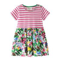 adretter stilstreifen großhandel-Nagelneues Mädchen-Blumen-Kleid Rose Stripes Tieraffe Mädchen, das Großhandelskurzschluss-Hülse 2019 neue Art-Baumwolle exportiert Billig billig 18M-6T