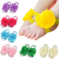 Wholesale sandal shoes kids - New Arrival kids Flower Sandals baby Barefoot Sandals Baby girl Foot Flower Wristband Folds Chiffon Flower baby girl shoes KFA02