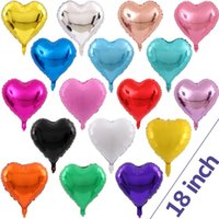 ingrosso palloncini di cuore di compleanno-Love Heart 18 pollici Foil Balloon Compleanno Matrimonio Capodanno decorazione festa aerostati OOA5952