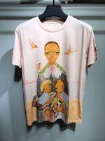Wholesale fashion illustration prints - 2018 new summer brand men t-shirt Illustration theme three girls like printing T-shirt White collar short sleeves man Tops Hipster Tees